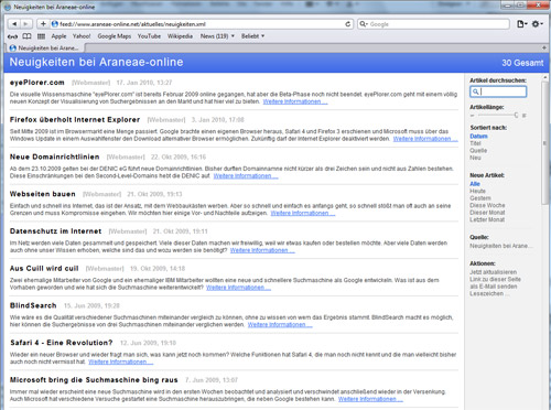 Darstellung eines RSS Feeds in Safari